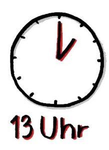 Die Uhr zeigt 13 Uhr an.