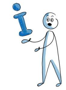 """Eine Person hält ein """"I"""" in den Händen. Das I steht für Information."""