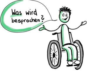 Eine Person sitzt im Rollstuhl. Sie fragt: Was wird besprochen?