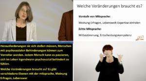 Man sieht den Live-Stream der Veranstaltung mit vier Fenstern. Links trägt Petra Derler vor. Rechts daneben sieht man die Powepoint. Links unten den Schriftdolmetsch und recht unten die Gebärdensprachdolmetscherin Patricia Brück.