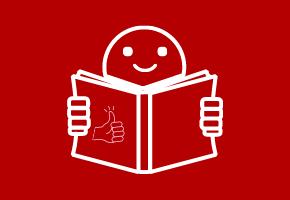 """Man sieht ein Zeichen für Leichte Sprache. Eine Person lächelt und hält ein offenes Buch in den Händen. Darauf ist ein """"Daumen nach oben""""-Symbol abgebildet."""