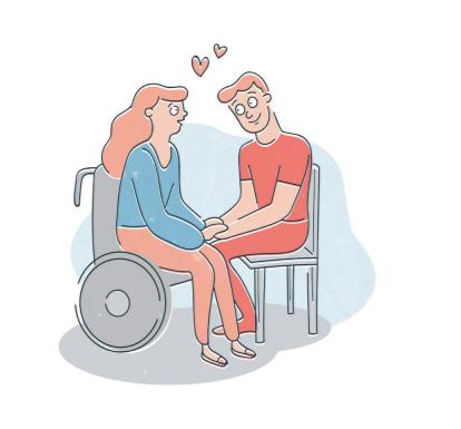 Eine Comic-Zeichnung von zwei sitzenden Personen. Sie schauen sich verliebt an und halten sich an den Händen. Zwischen ihren Köpfen sind zwei kleine, rote Herzen. Die Person links sitzt in einem grauen Rollstuhl. Sie ist weiß und hat lange, wellige, rote Haare. Sie trägt einen blauen Pullover und eine orange Hose. Die Person rechts sitzt auf einem Stuhl. Sie lächelt und hat kurze rote Haare. Die Person trägt ein rotes T-Shirt und eine rote Hose.